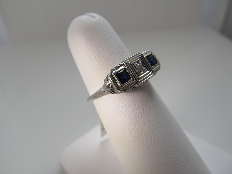 Antique 18k white gold filigree sapphire diamond ring