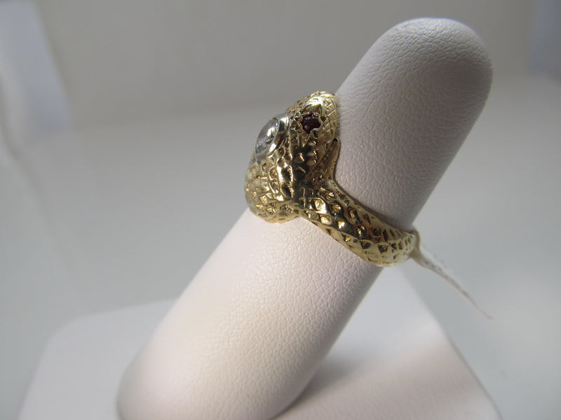 Vintage 14k yellow gold snake ring with a .35ct diamond