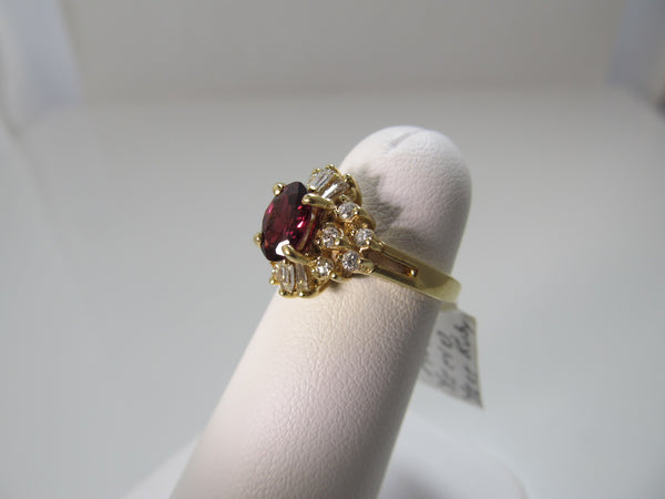 Estate 14k yellow gold ruby diamond ring