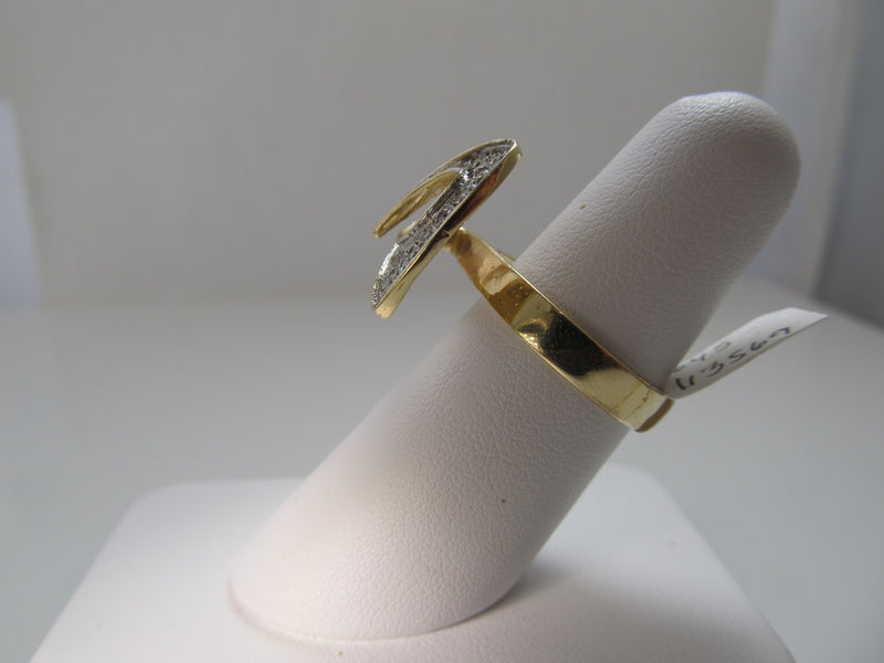 Modernist 14k yellow and white gold diamond ring