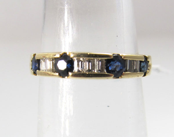 14k yellow gold sapphire diamond band