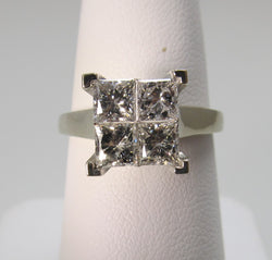 Modern 14k white gold 1.70ct round princess cut engagement ring