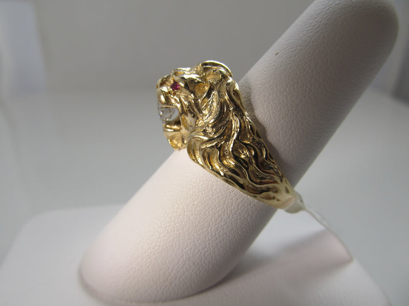 Vintage ruby and diamond lion ring