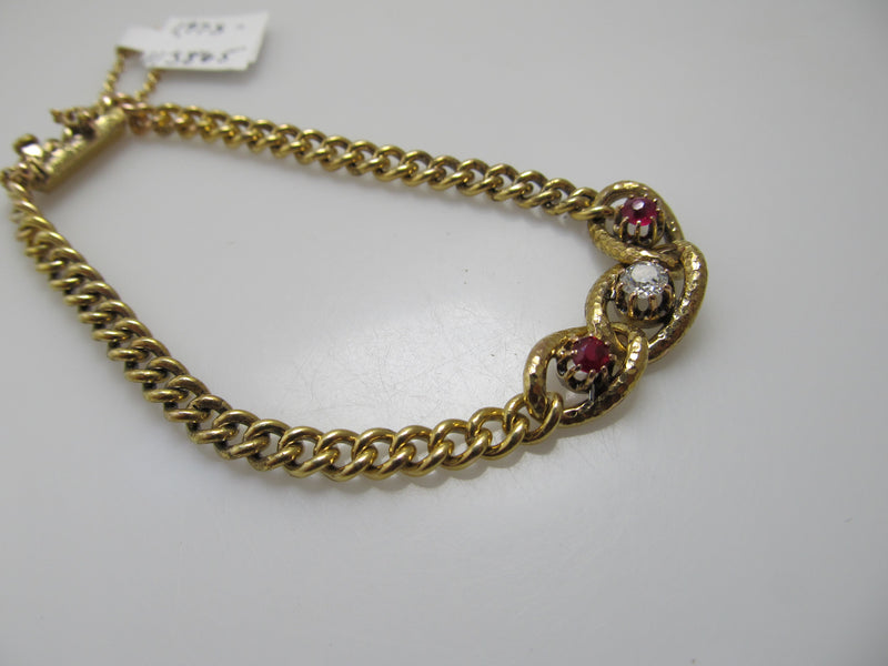 Antique 14k yellow gold ruby diamond bracelet