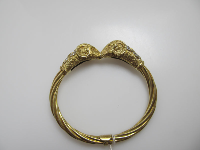 Vintage double ram's head diamond bangle bracelet
