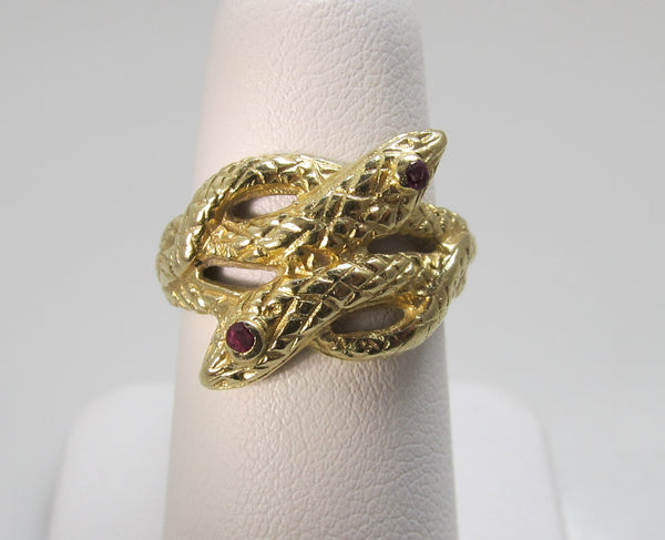 Vintage 14k yellow gold double snake ring
