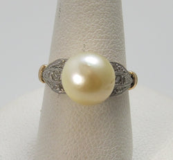 Antique 18k white and rose gold pearl ring