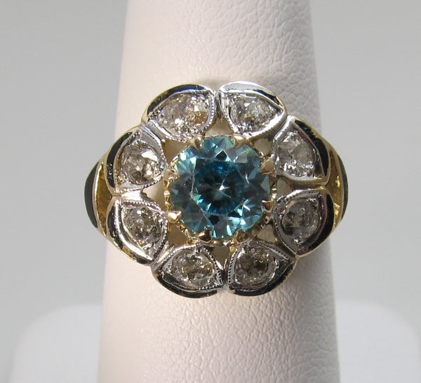 Antique 14k gold blue zircon diamond cluster ring