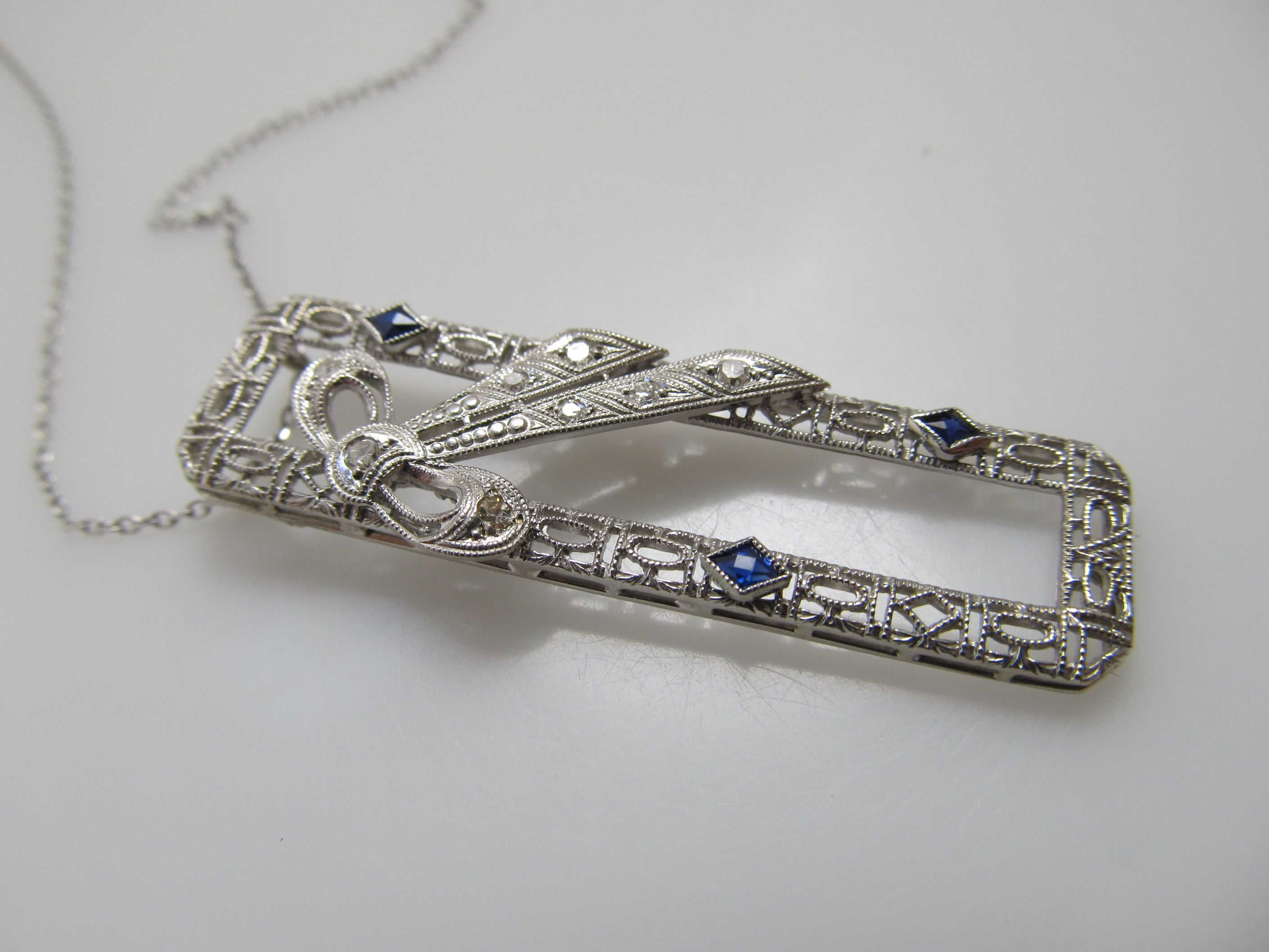 Antique 14k white gold filigree sapphire diamond necklace