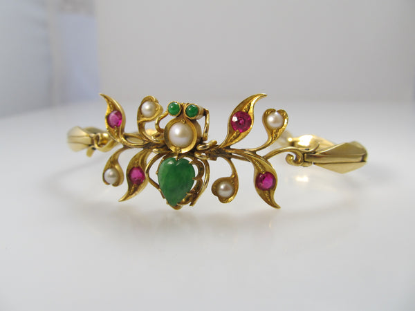 Vintage spider bracelet with jade, ruby and pearl