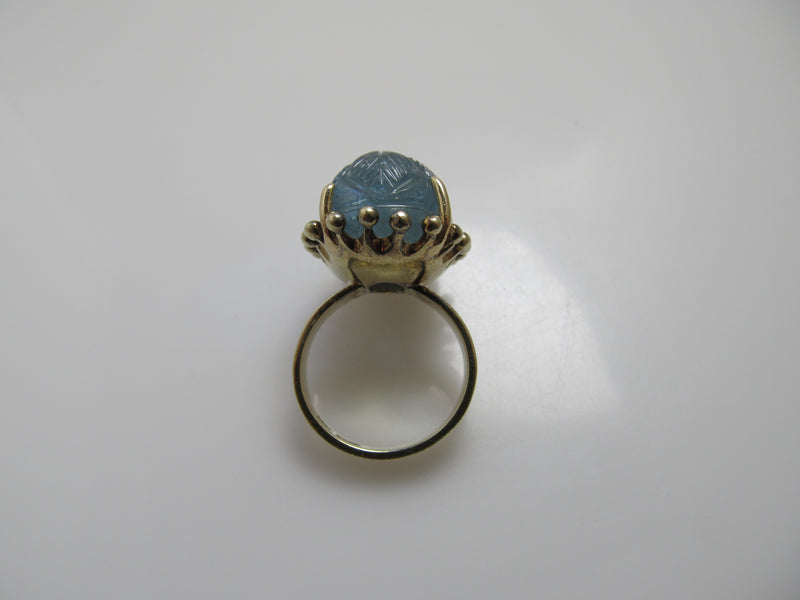 20.00ct carved aquamarine ring in 14k yellow gold
