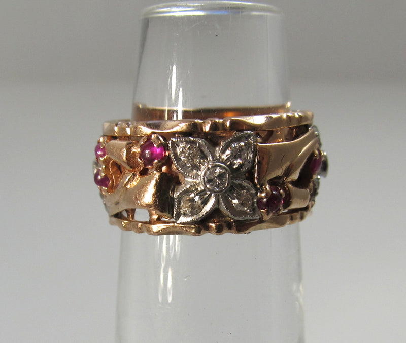 Vintage retro 14k rose gold band with ruby and diamond