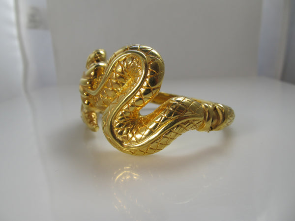 Big 14k yellow gold snake bangle bracelet