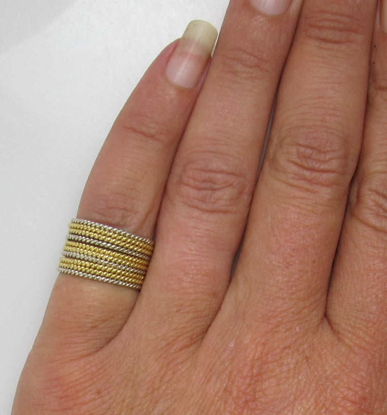 Cartier 18k white and yellow gold multi band stack ring