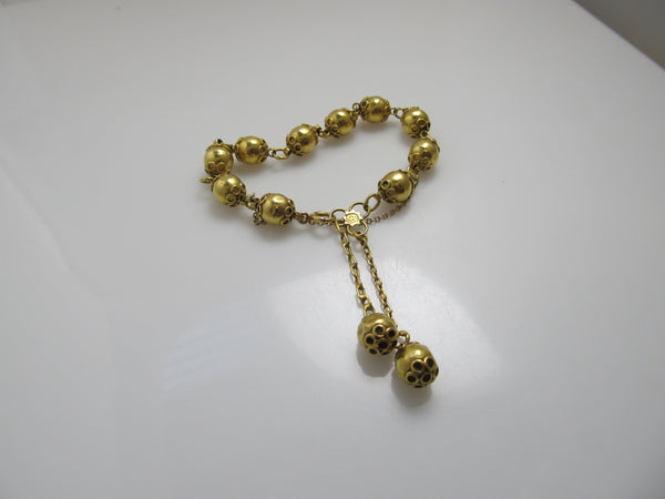 Vintage 22k yellow gold bead bracelet
