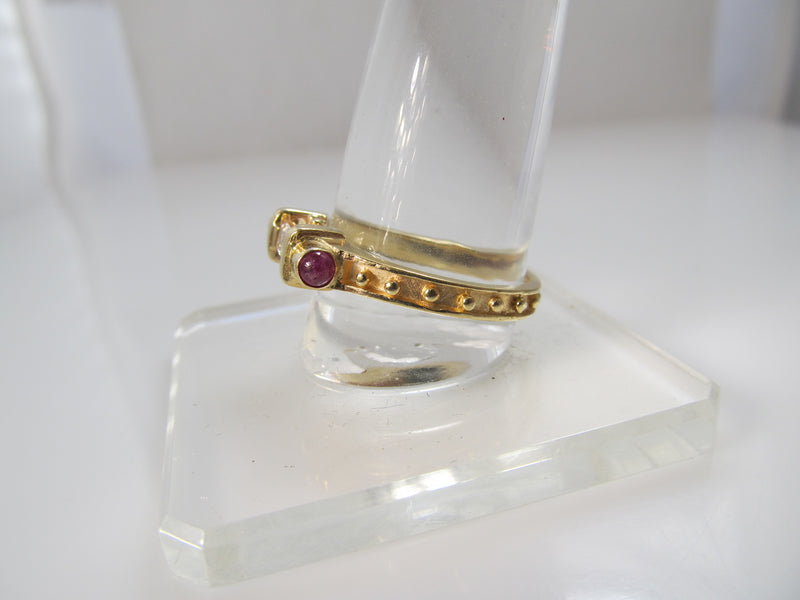14k .25ct emerald cut diamond and ruby ring