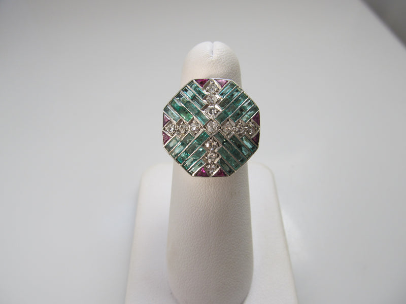 Art Deco emerald ruby and diamond ring