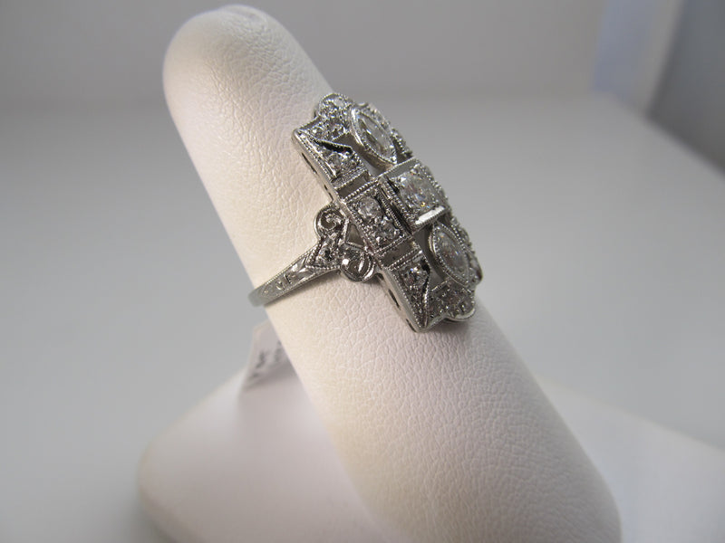 Long antique 1ct diamond platinum ring