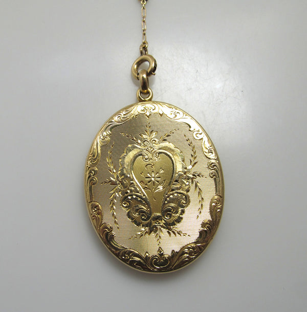 Antique hand engraved 14k yellow gold locket necklace