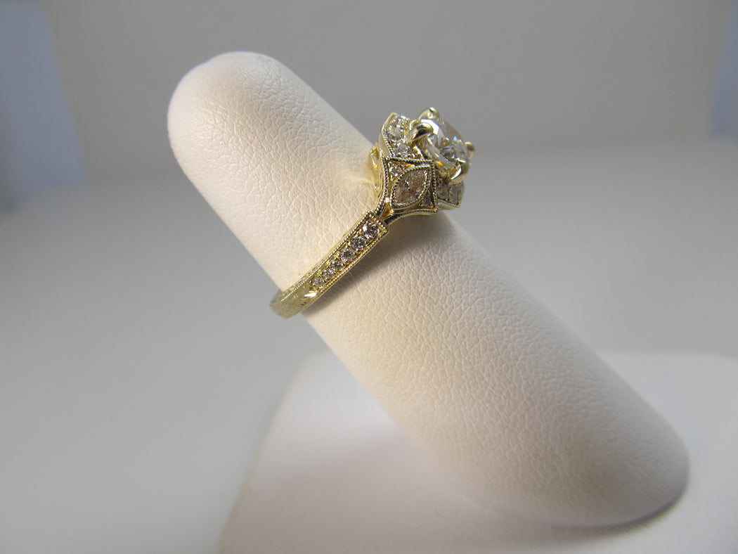 Gabriel & Co yellow gold diamond ring
