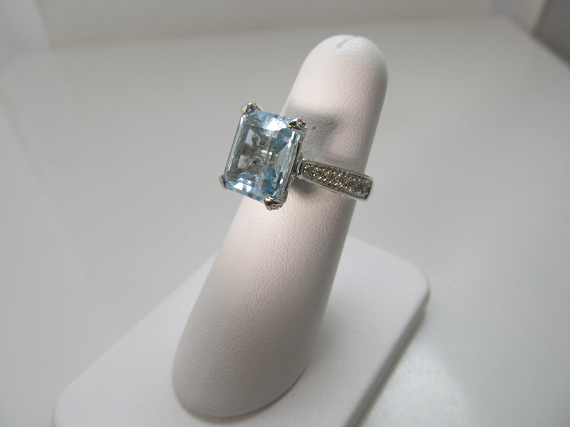 5.38ct aquamarine ring with diamonds in 14k white gold