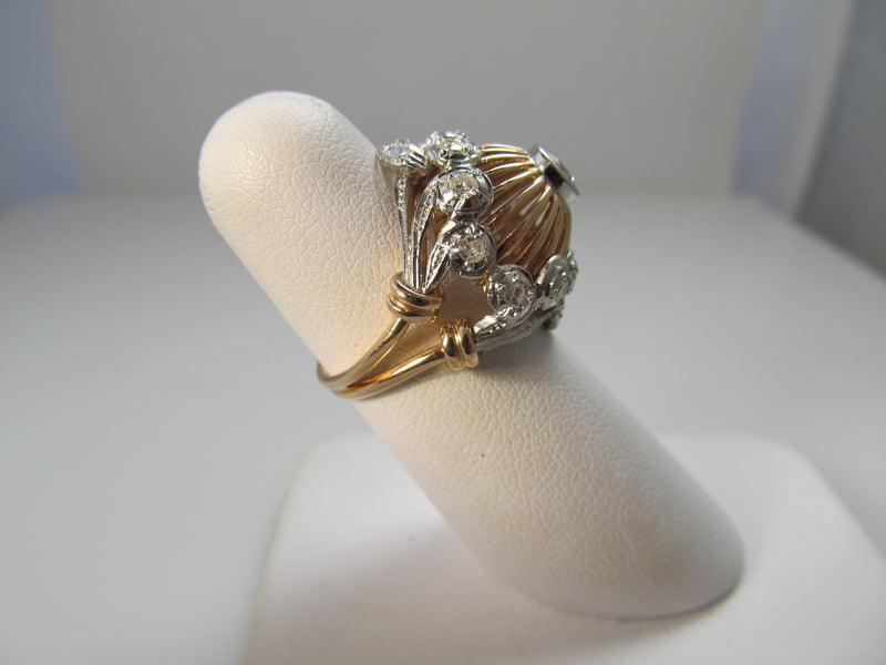 Vintage retro rose gold diamond ring