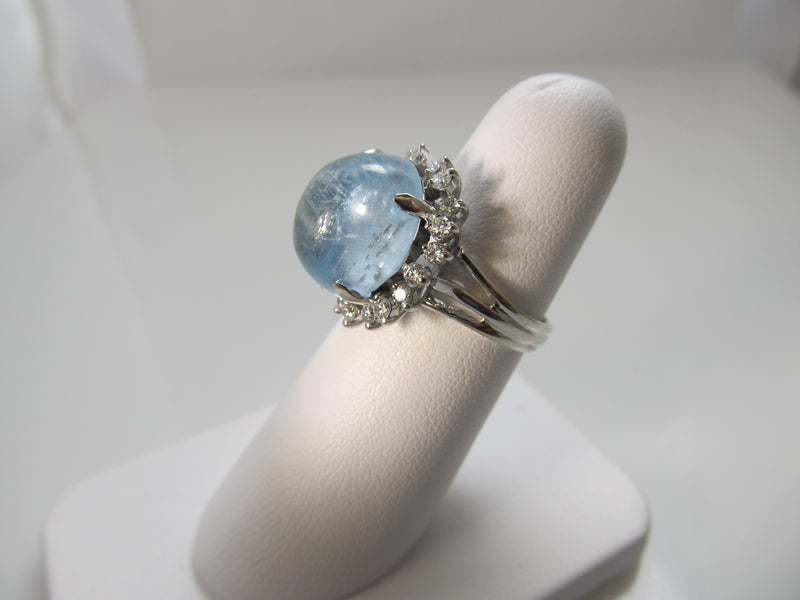 9.00ct cabochon cut aquamarine and diamond ring