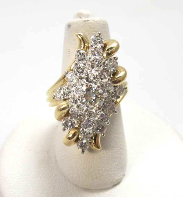 Huge 3.00ct diamond cocktail ring, 14k yellow white gold