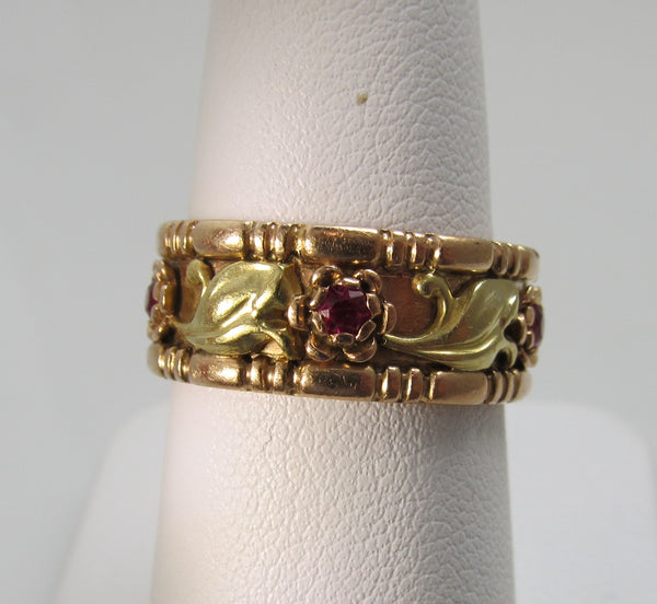 Vintage retro 14k rose and yellow gold ruby band