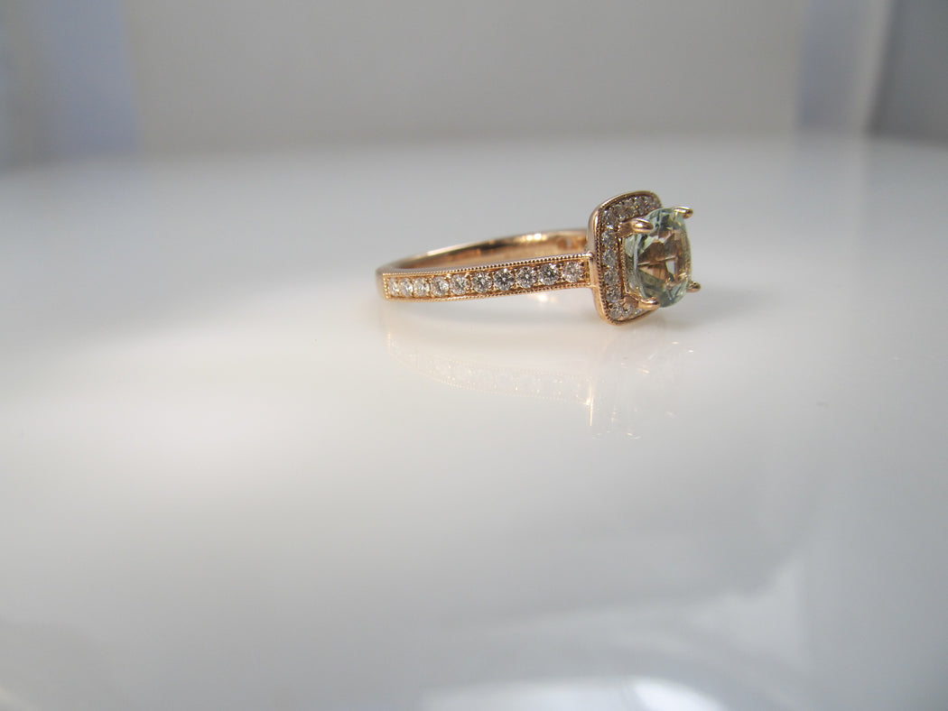 Gabriel & Co rose gold aquamarine diamond ring
