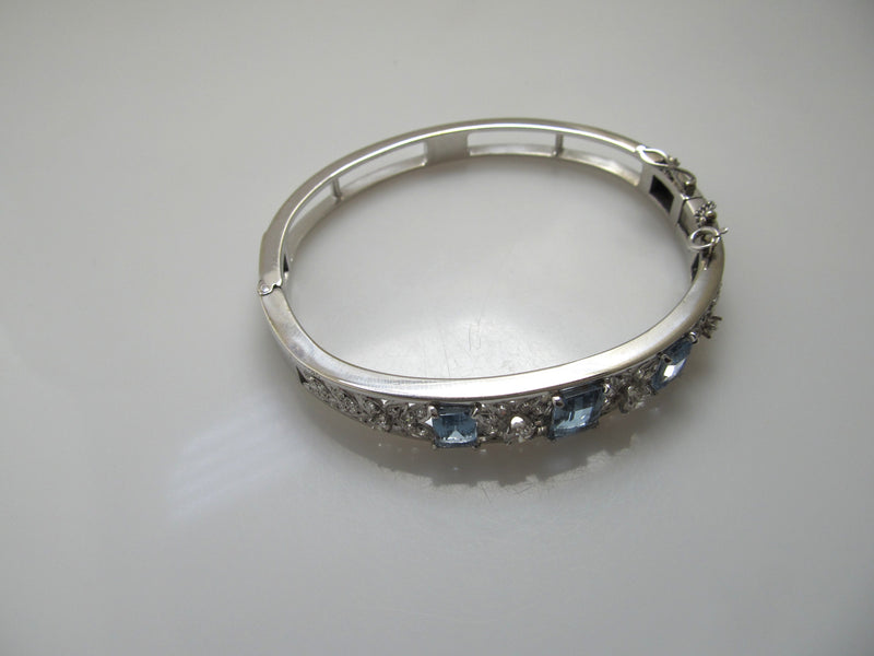 Vintage 3.50ct aquamarine diamond bangle bracelet