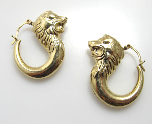 Yellow gold lion head hoop earrings