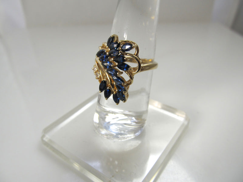 14k yellow gold sapphire diamond cocktail ring