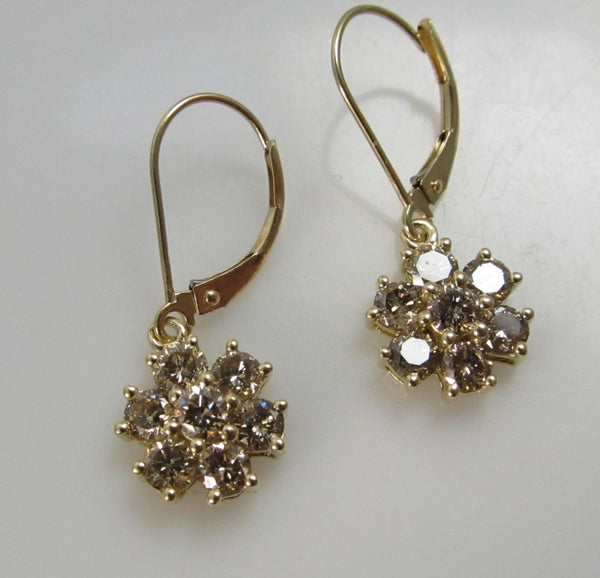 1.50ct pretty light brown diamond flower earrings