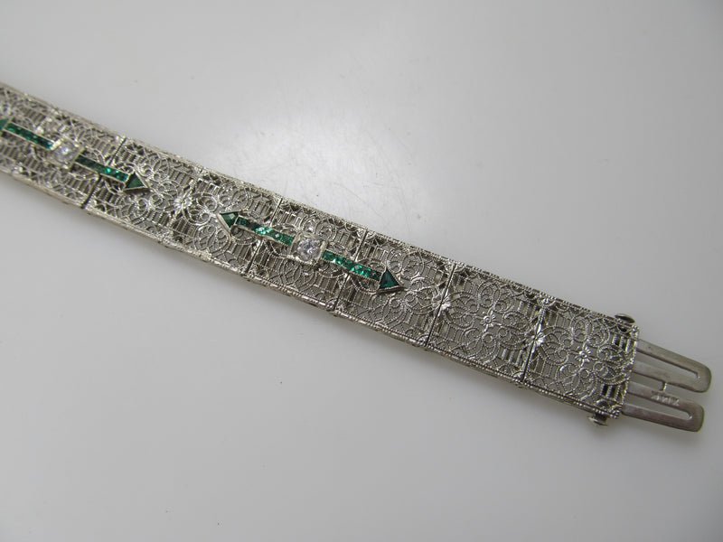 Antique filigree emerald and diamond bracelet