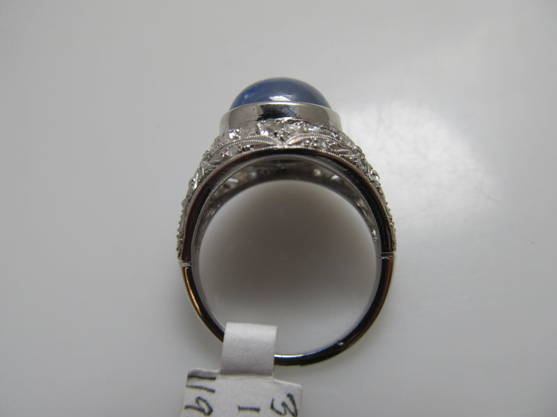 Platinum 6.00ct star sapphire and diamond ring