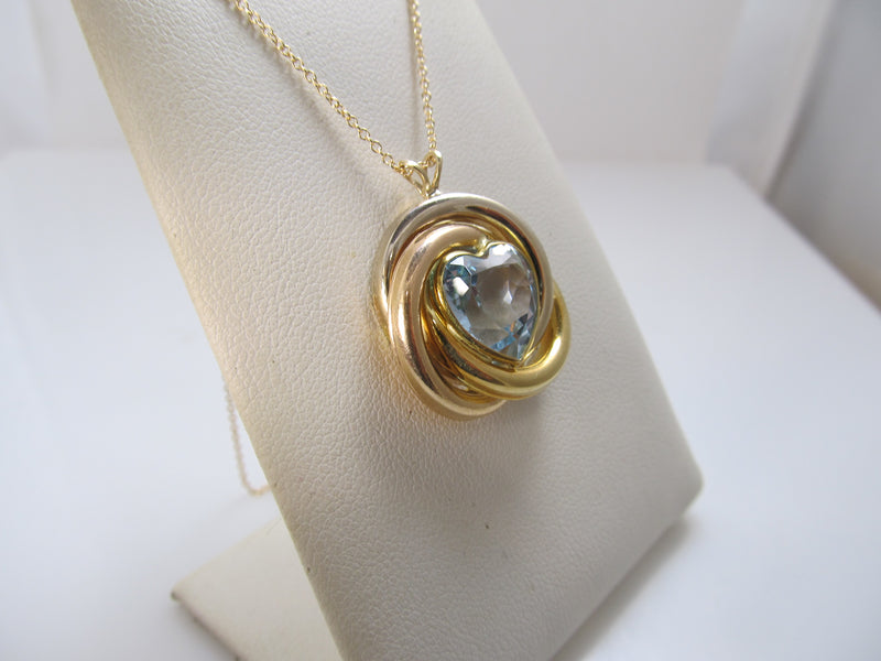 Heart shaped aquamarine necklace in 14k gold