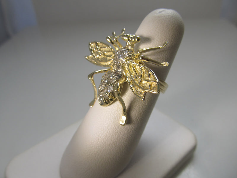 VERY cool large diamond bee ring