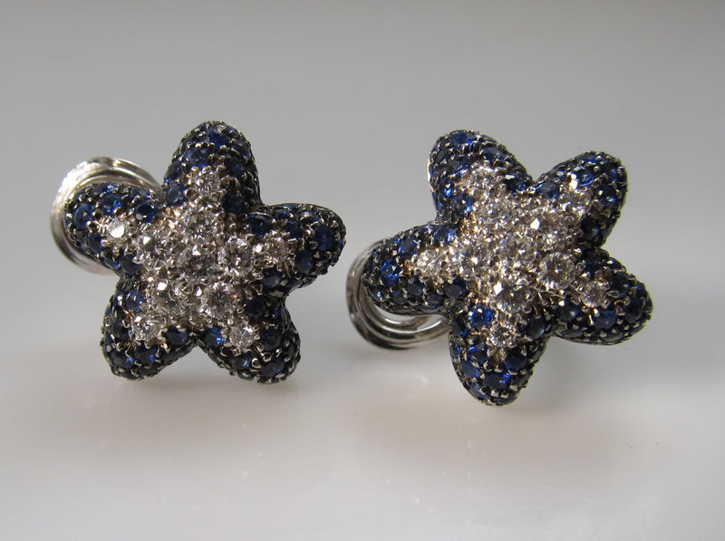18k white gold starfish earrings with sapphire and diamonds