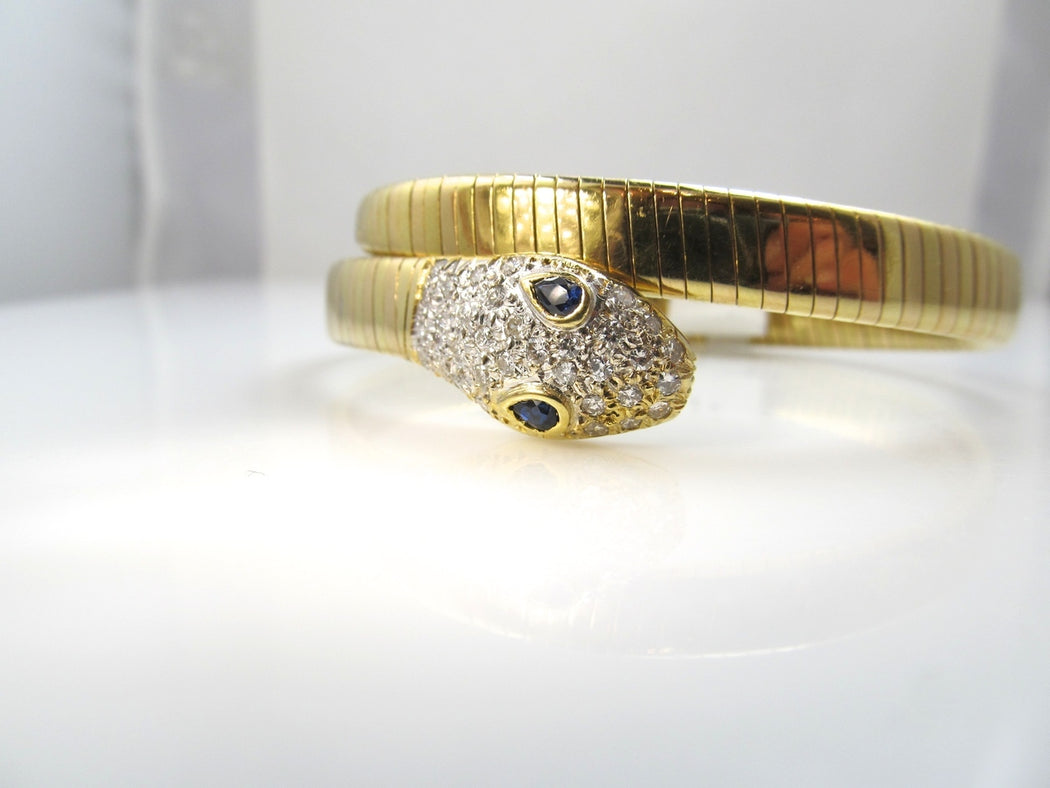 18k Gold Snake Bangle Bracelet With Sapphires And .80cts In Diamonds, Si1 F-g. Circa 1960