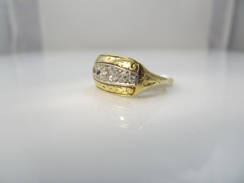 Edwardian 14k Yellow Gold And Platinum Ring With .75cts In Diamonds, Circa 1910.