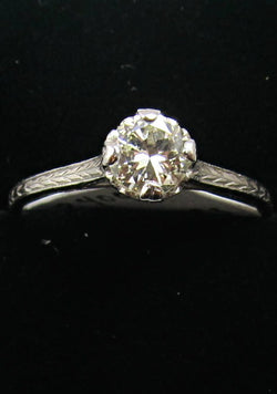 Platinum Ring With A .52ct Center Diamond, Vs2, F-g. Circa 1920.