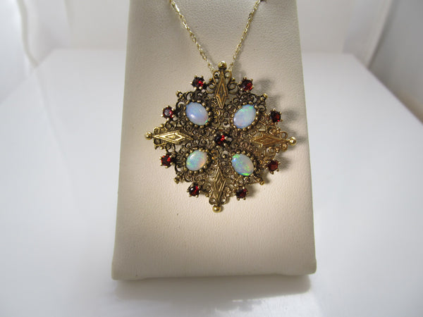 Vintage gold necklace with opals and garnets