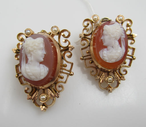 Antique 10k Rose Gold Earrings With Stone Cameos And Pearls, Circa 1890