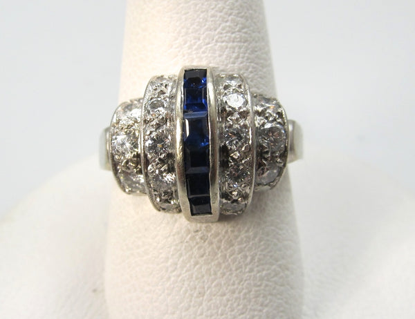 Art Deco 14k white gold ring with sapphires and 1.00ct in diamonds, VS2 F-G. Circa 1920.
