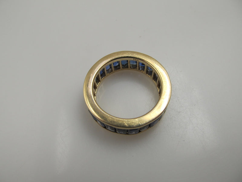 14k Yellow Gold Wide Eternity Band With 4.00cts In Sapphires.