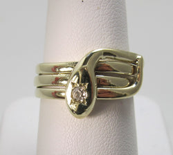 Vintage coiled diamond snake ring, 14k yellow gold