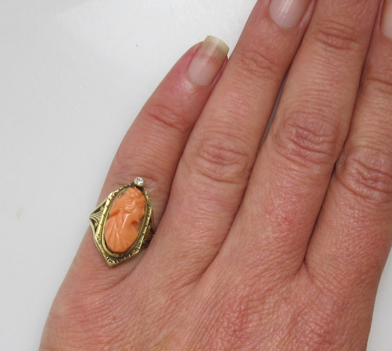 Antique coral cameo diamond ring, 14k yellow gold