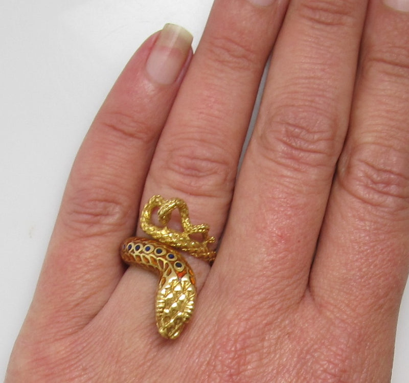 Vintage enamel cobra snake ring, 18k yellow gold