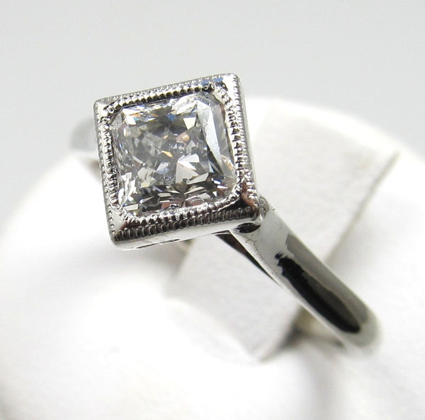 Platinum Ring With A .92ct Square Radiant Cut Diamond, Si1 G.